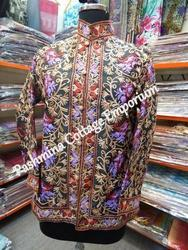 Cotton Allover Embroidered Jacket, Size: L