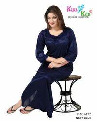 Full Length Navy Blue KuuKee 6172 Silky Nightwear