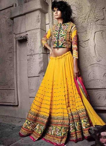 aee246d7ef Pure Georgette Yellow Lehenga Choli at Rs 5780 /piece   Bridal ...