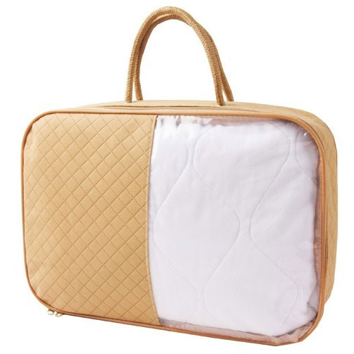Fabric Golden And White Carry Bag, Size: 40 Cm X 30 Cm X 15 Cm