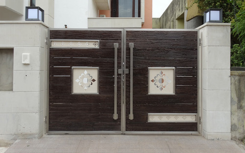 Ss wooden main gate gate grilles fences railings raj techno fab engineers pvt ltd in - Wooden main gate design for home ...
