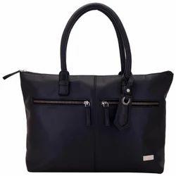 Yelloe Black Shoulder Bag with Front Metal Zips