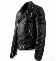 Full Sleeve Plain Ladies Black Leather Jacket