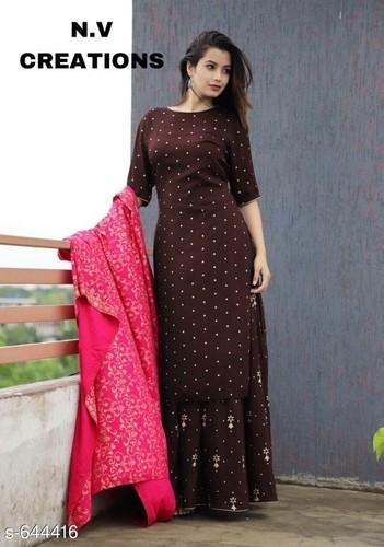 d194ea77e6 Full Length Dresses - Copper Gold Rawsilk Ethnic Gown Manufacturer from  Bengaluru