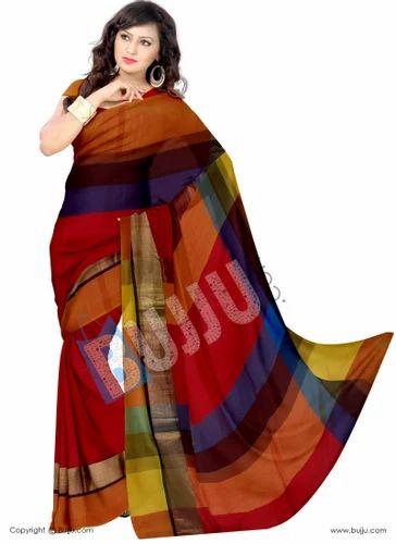 2e8ccbf31159f6 Multicolor Checks Pure Uppada Pattu Saree - Bujju Dot Com