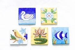 Blue Pottery Engraved Tile