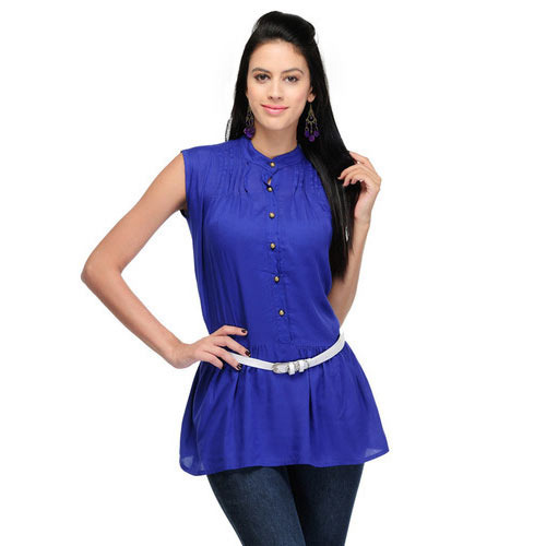 Galaxy Trendz Georgette Blue Sleeveless Ladies Tops