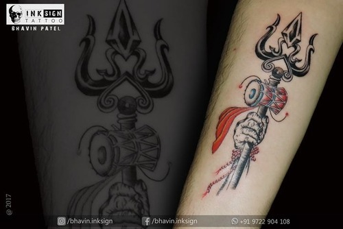 a75dbe676 Trishul tattoo | Sadhu Vasvani Road, Rajkot | Inksign Tattoos India ...