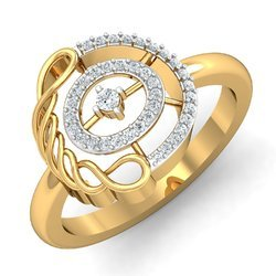 Round Shape Gold Diamonds Ring