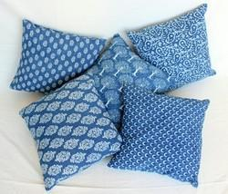 Indigo Printed Cotton Cushion Cover