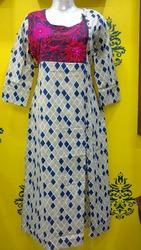 Cotton Front Cut Embroidery Kurti