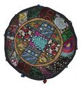 Round Patchwork Embroidered Multi Ottoman Pouf Cover