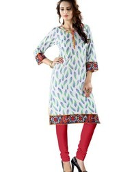 Floral Leaves Printed Cotton Kurti