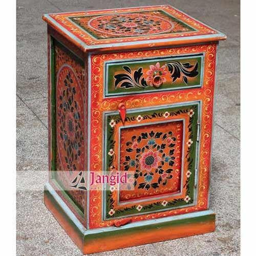 Colorful Traditional Indian Rajasthani, Hand Painted Indian Bedside Cabinet