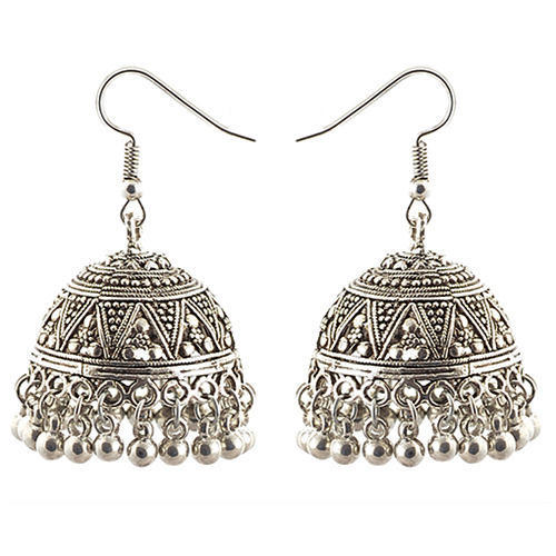 german chandbali earrings beads front with step gold designer silver double