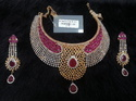 Bridal Gold Plated Necklace Set with Ruby and CZ
