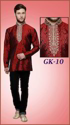 Men Red Short Kurta