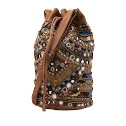 Mirror Beads Leather Bag