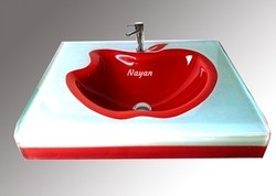 Silver And Red Nayan Apple Shape Glass Wash Basin