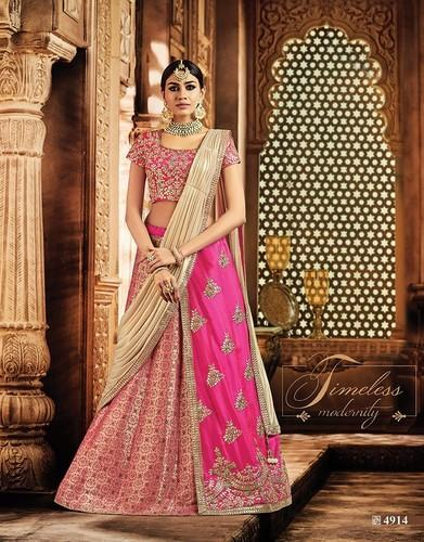 8dec66420d Semi-Stitched Pink Colour Styles Bridal Lehenga Choli M-4914, Rs ...