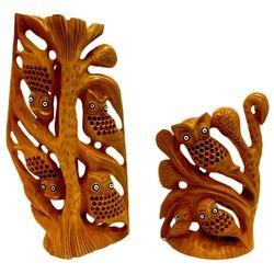 Family Wooden Jali Owl Tree