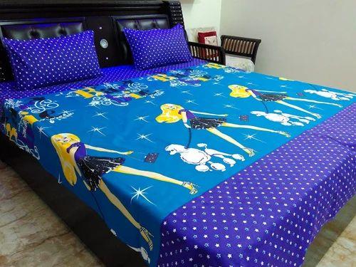 Kids Special Blue Barbie Cotton Double Bed Sheet