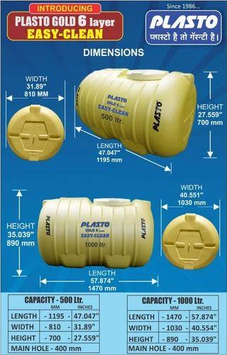 Horizontal Plasto 6 Layer Water Tank Capacity 1000 5000 L Rs 10 Liter Id 19999946062