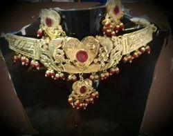 Gold Copper Artificial Necklace Set, Size: 6'