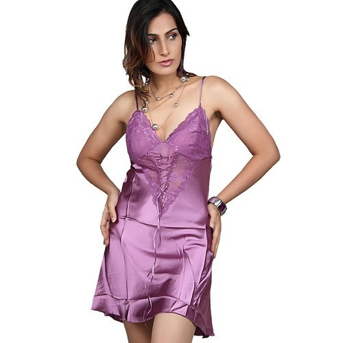8376a44062 Silk Wine Purple Bridal Nighty Sleepwear