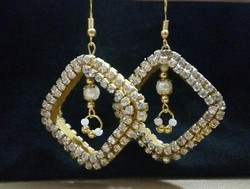 Gold Stone Square Earring