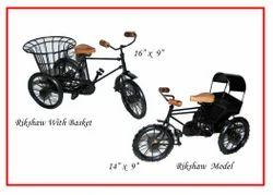 Brown and Black Wooden Iron Decorative Rickshaw