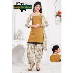 Cotton Printed Unstitched Patiala Suit
