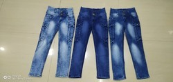 Cotton Lycra Blue & Black Girls Jeans