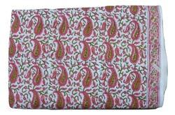 Hand Block Cotton Paisley Printed Fabric