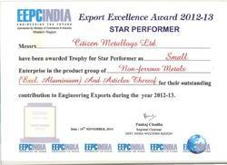 STAR PERFORMER FOR HIGHEST EXPORT 2012-13 EEPCINDIA