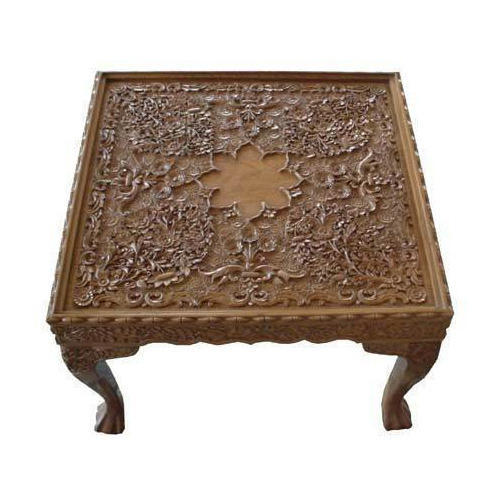 Walnut Wood Carving Square Table