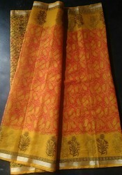 Party wear Cotton Kota Saree Block Printed, 6.3 m (with blouse piece)