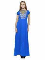 Blue Ikkat Maxi Dress
