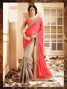 Georgette & Net Orange Embroidery Designer Sarees