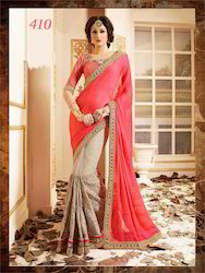 Designer Orange Embroidery Sarees