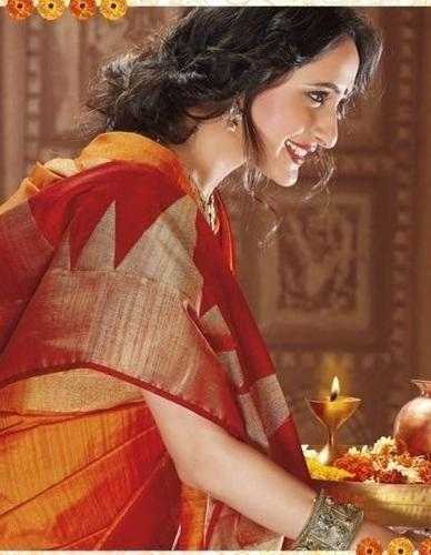 e92728f293 Beautiful Red and Yellow Raw Silk Saree 651 at Rs 2700 | Ladies Silk ...