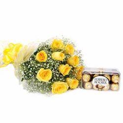 Yellow Roses With  Ferrero Rocher Chocolates