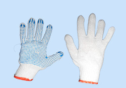 Orange Border Cotton Dotted Hand Gloves