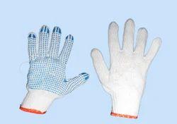 Orange Border Cotton Dotted Hand Gloves