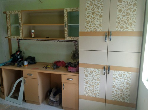 Wooden Wardrobe With Study Table Book Self Rs 1300 Square Feet