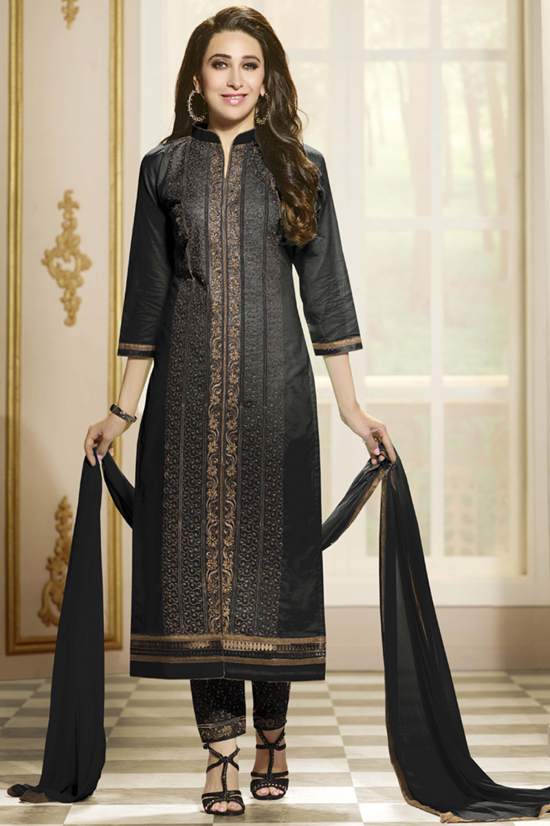 Cotton Black Party Wear Designer Straight Suits Rs 2045 Piece Id 3938813112