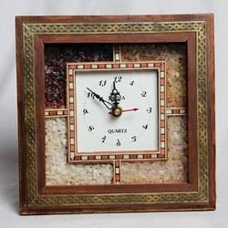 Sage Golden and Brown Wall Clock, For Home, Size: 43 Cm X 29 Cm