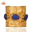 Blue Druzy White Zircon Gemstone Cuff Bangle