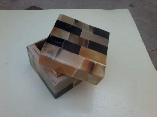 Square Buffalo Horn Jewellery Box
