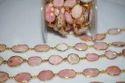 Pink Opal Gemstone Bezel Connector Chain